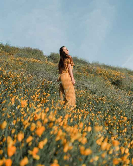 woman standing on flower field